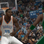 Kevin Durant dribbles the basketball in NBA Elite 11