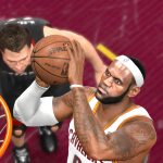 LeBron James dunks the basketball in NBA Live 14
