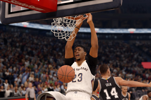 Anthony Davis dunks the basketball in NBA Live 16
