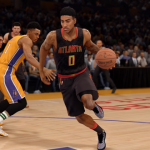 Jeff Teague dribbles the basketball in NBA Live 16