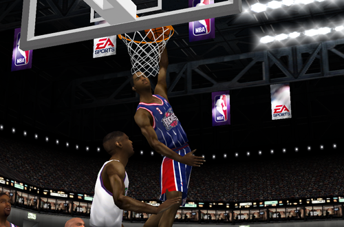 Steve Francis dunks in NBA Live 2001