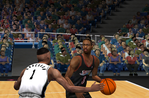 Allen Iverson dribbles the basketball in NBA Live 2001