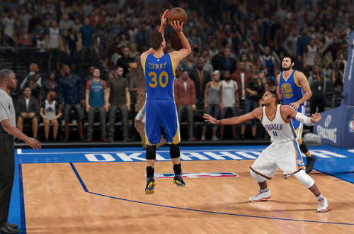Stephen Curry shoots the basketball in NBA 2K16