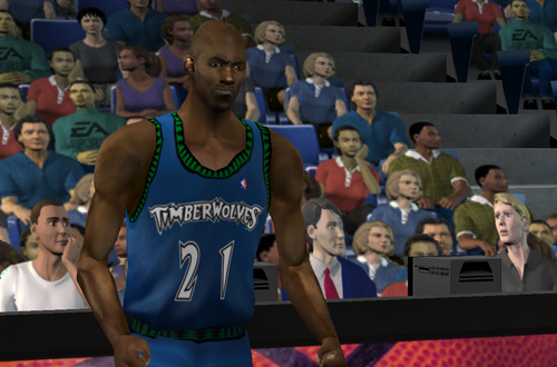 A hyped Kevin Garnett in NBA Live 2001