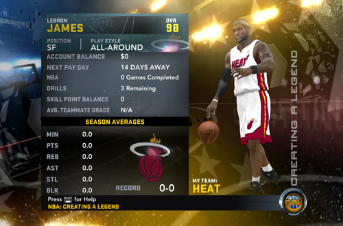 LeBron James in Creating a Legend, one of two Career Modes in NBA 2K12