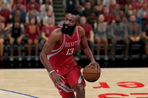 James Harden dribbles the basketball in NBA 2K16
