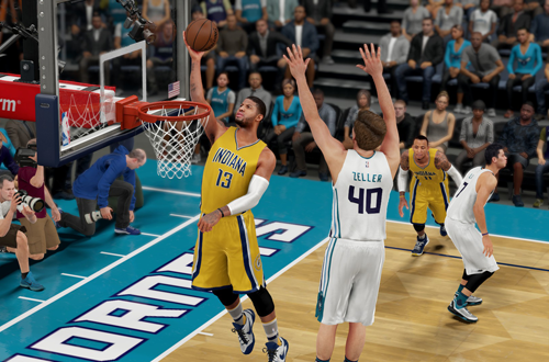 Paul George with the layup in NBA 2K16