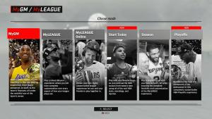 NBA 2K17: Choose Mode in MyGM & MyLEAGUE