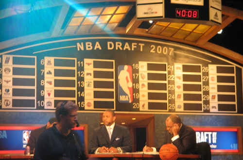 At the 2007 NBA Draft during the NBA Live 08 Community Event