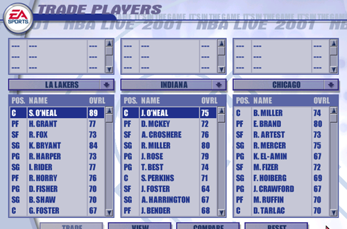 Trade Screen in NBA Live 2001