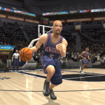 Jason Kidd dribbles the basketball in NBA Live 2004