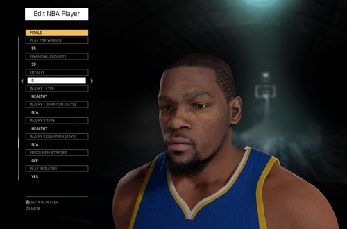 Editing Kevin Durant in NBA 2K16