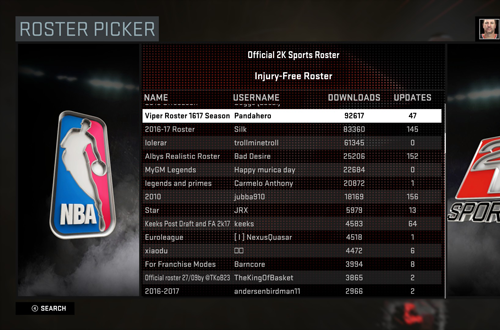 Roster Picker in NBA 2K16