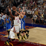 Stephen Curry with the layup in NBA 2K16