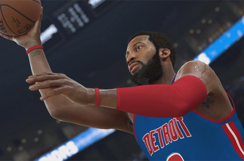 Andre Drummond shoots the basketball in NBA 2K17