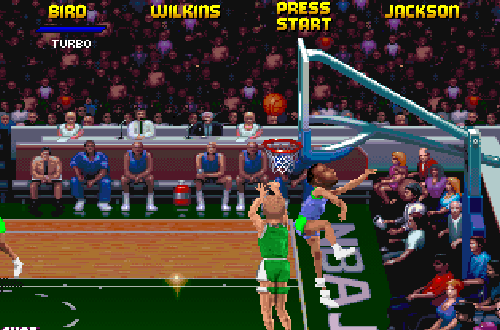 Larry Bird on the Boston Celtics in NBA Jam Tournament Edition