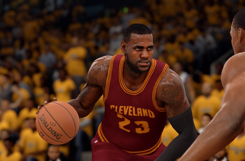 LeBron James dribbles the basketball in NBA Live 16
