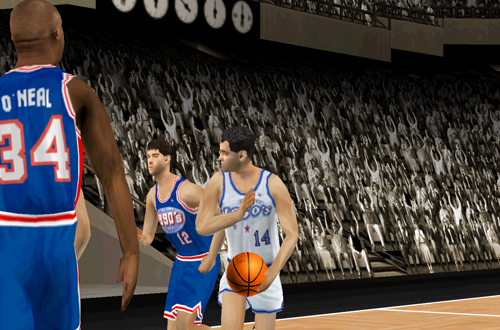 Bob Cousy passes the basketball in NBA Live 2000