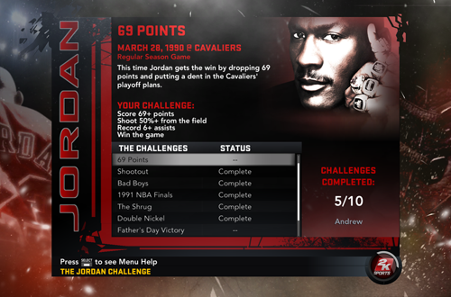 Five Challenges Complete in NBA 2K11's Jordan Challenge