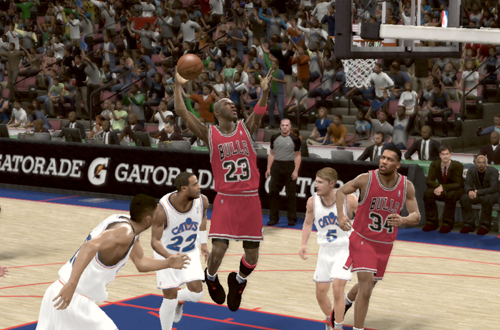 Michael Jordan dunks on the Cavaliers in NBA 2K11's Jordan Challenge