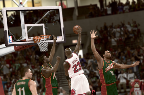 Michael Jordan dunks the basketball against the Sonics in NBA 2K11's Jordan Challenge