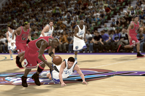 Michael Jordan steals the basketball from John Stockton in NBA 2K11's Jordan Challenge