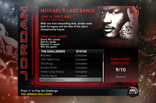 Nine Games Completed in NBA 2K11's Jordan Challenge