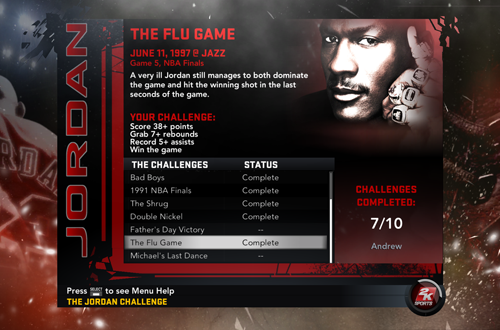 Seven Games Completed in NBA 2K11's Jordan Challenge