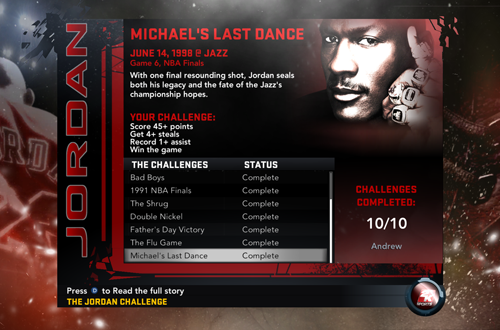 Ten Games Completed in the Jordan Challenge (NBA 2K11)