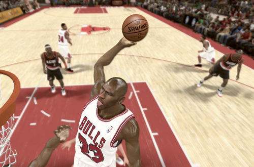 Michael Jordan dunks on the Trail Blazers in NBA 2K11's Jordan Challenge