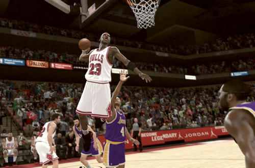Michael Jordan dunks on the Lakers in NBA 2K11's Jordan Challenge