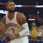 Kyrie Irving dribbles the basketball in NBA 2K17