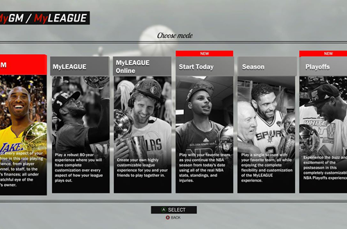 Choosing a MyLEAGUE/MyGM Mode in NBA 2K17