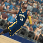 Cover player Paul George dunks the basketball in NBA 2K17