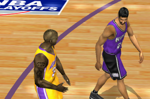Shaquille O'Neal and Vlade Divac in NBA Live 2002