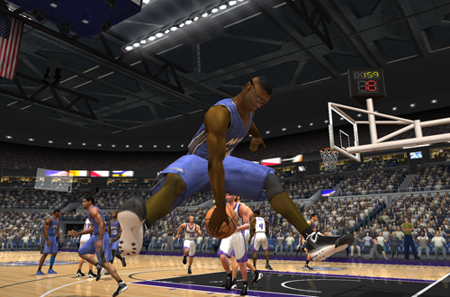 Horace Grant saves the basketball in NBA Live 2003
