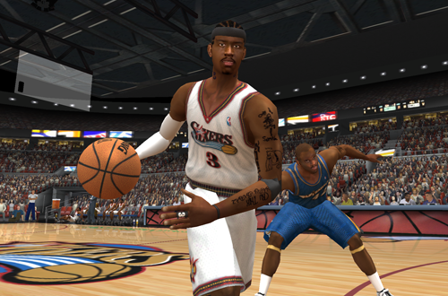 Allen Iverson dribbles the basketball in NBA Live 2003