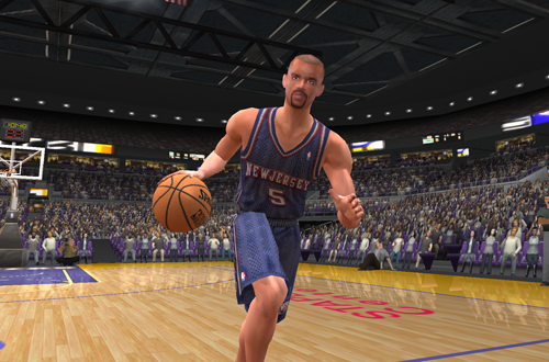Cover player Jason Kidd dribbles the basketball in NBA Live 2003