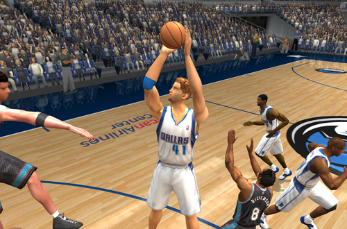 Dirk Nowitzki shoots the basketball in NBA Live 2003