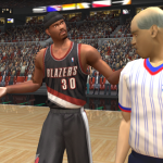 Rasheed Wallace argues with a referee in NBA Live 2003