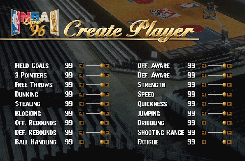 Maxed Out Created Player in NBA Live 96 PC