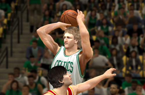 Larry Bird shoots the basketball in the Ultimate Base Roster for NBA 2K14