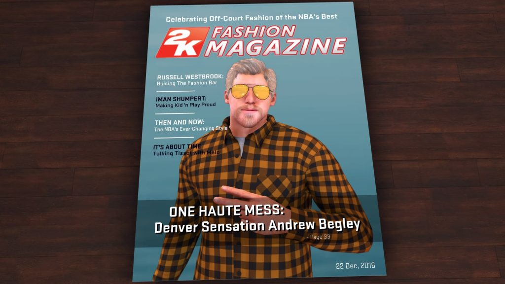 2K Fashion Magazine in NBA 2K17's MyCAREER