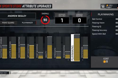 Upgrading MyPLAYER Attributes in NBA 2K17