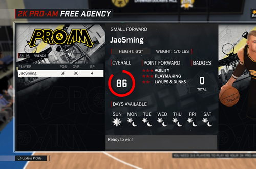 Free Agency in NBA 2K17's 2K Pro-Am