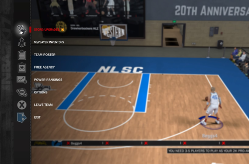 Menu in NBA 2K17's 2K Pro-Am