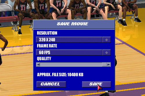 Saving a Replay in NBA Live 2001