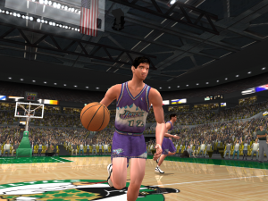 John Stockton dribbles the basketball in NBA Live 2003