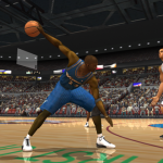 Michael Jordan palms the basketball in NBA Live 2003