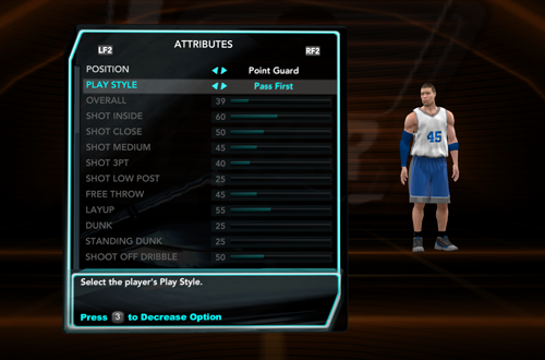 My Player Creation Screen in NBA 2K10